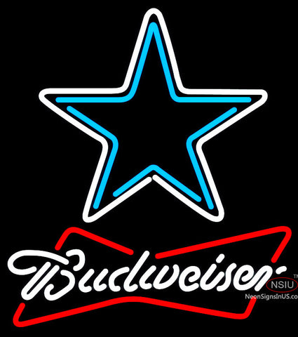 Budweiser White Dallas Cowboys NFL Neon Sign