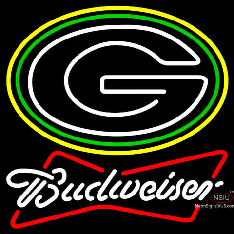Budweiser White Green Bay Packers NFL Neon Sign
