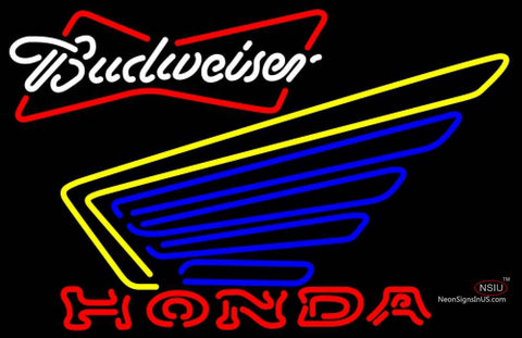 Budweiser White Honda Motorcycle Gold Wing Neon Sign