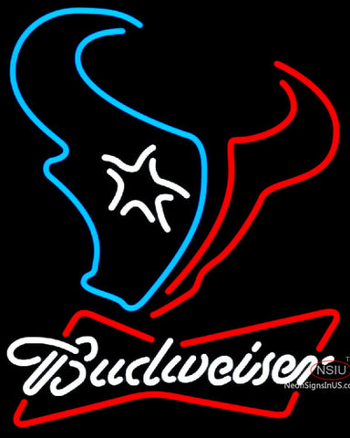 Budweiser White Houston Texans NFL Neon Sign