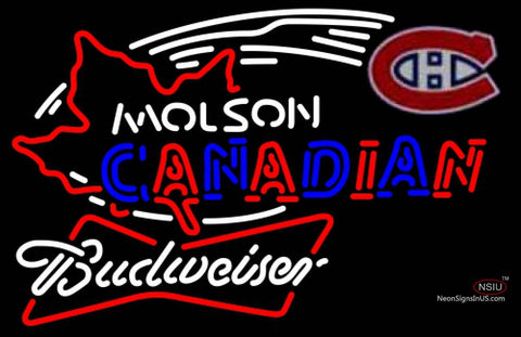 Budweiser White Molson Montreal Canadians Hockey Neon Sign