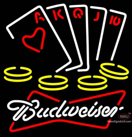 Budweiser White Poker Ace Series Neon Sign 7  x
