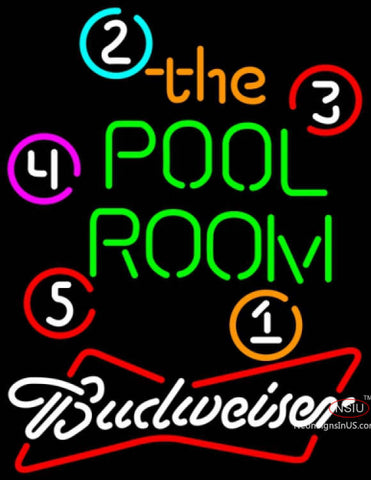 Budweiser White Pool Room Billiards Neon Sign  7