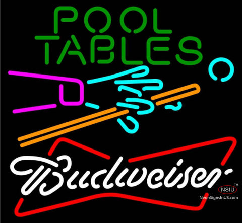 Budweiser White Pool Tables Billiards Neon Sign