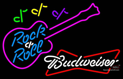 Budweiser White Rock N Roll Pink Guitar Neon Sign