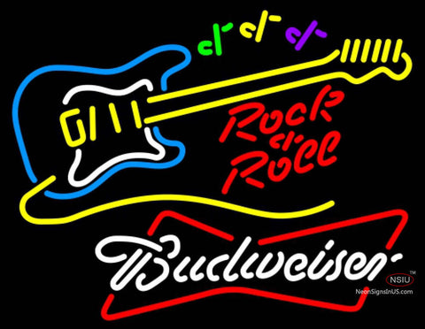Budweiser White Rock N Roll Yellow Guitar Neon Sign