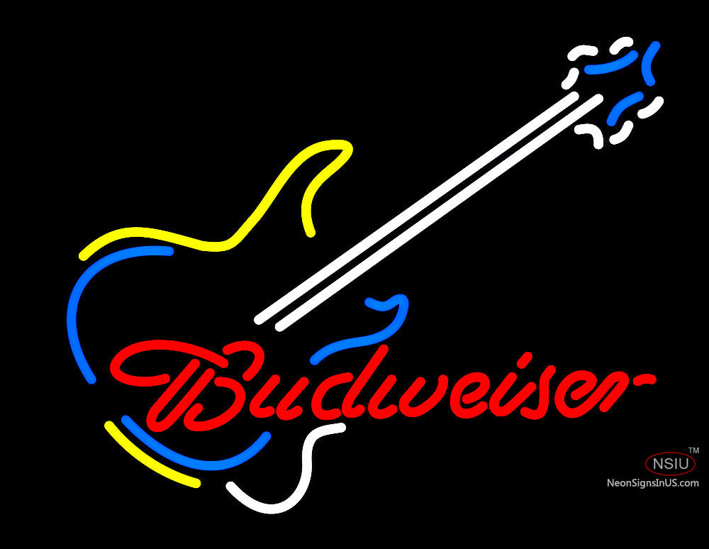 Budweiser With Guitar Neon Sign