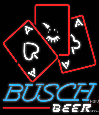 Busch Beer Ace And Poker Neon Sign