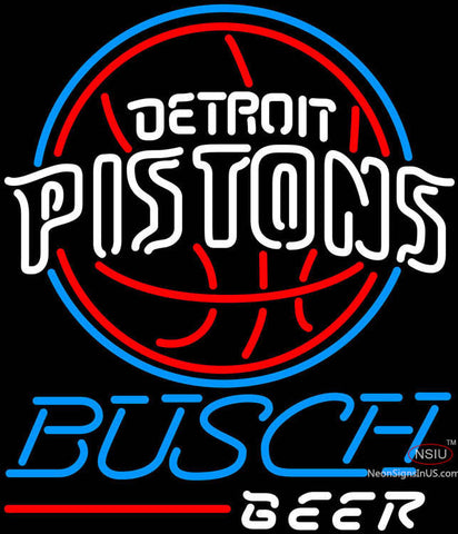 Busch Beer Detroit Pistons NBA Neon Sign