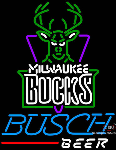 Busch Beer Milwaukee Bucks NBA Neon Sign