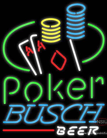 Busch Beer Poker Ace Coin Table Neon Sign