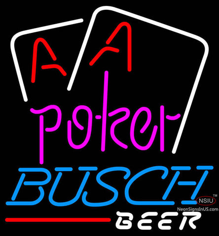 Busch Beer Purple Lettering Red Aces White Cards Neon Sign