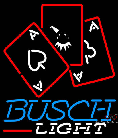 Busch Light Ace And Poker Neon Sign