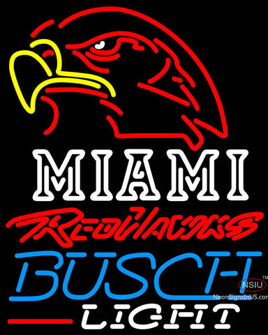 Busch Light Miami UNIVERSITY Redhawks Neon Sign