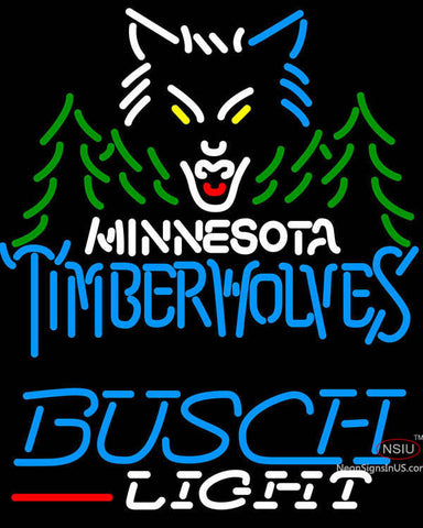 Busch Light Minnesota Timber Wolves NBA Neon Sign