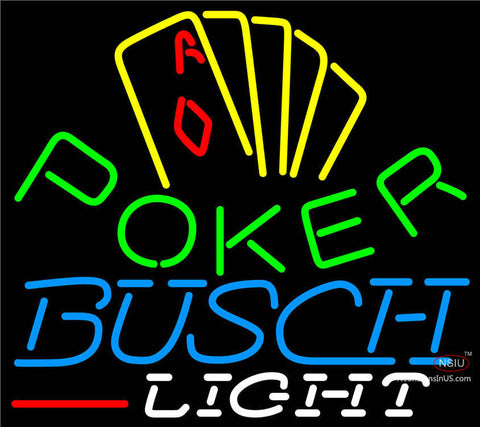 Busch Light Poker Yellow Neon Sign
