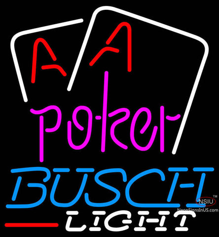 Busch Light Purple Lettering Red Aces White Cards Neon Sign
