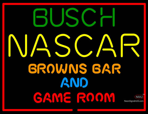 Busch NASCAR Browns Bar And Game Room Neon Sign