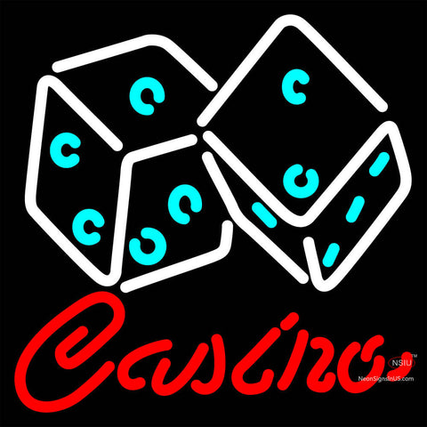 Casino With Dice Neon Sign x