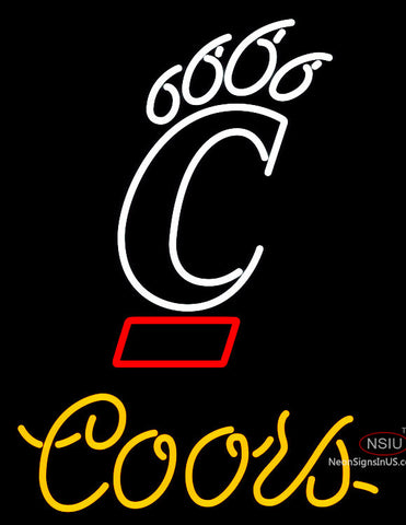 Coors University Of Cincinnati Bearcats Neon Beer Sign