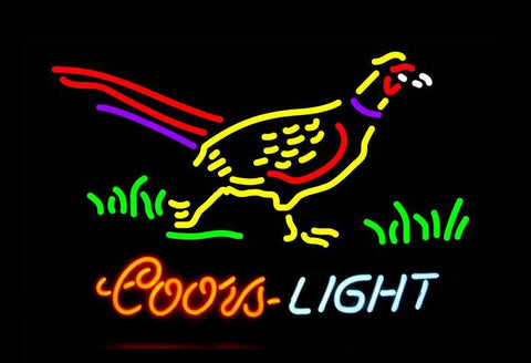 Pheasant with Coors Light Real Neon Glass Tube Neon Sign