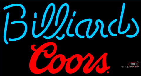 Coors Billiards Text Pool Neon Beer Sign