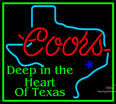 Coors Deep In The Heart Of Texas Neon Beer Sign