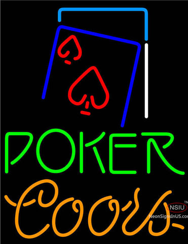 Coors Green Poker Red Heart Neon Sign