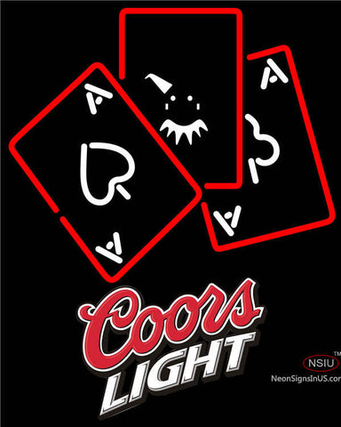 Coors Light Ace And Poker Neon Sign
