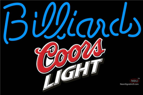 Coors Light Billiards Text Pool Neon Beer Sign