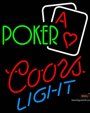 Coors Light Green Poker Neon Sign