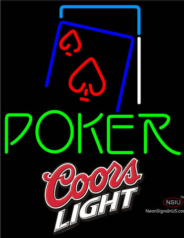 Coors Light Green Poker Red Heart Neon Sign
