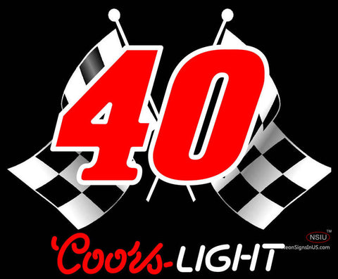 Coors Light Nascar  Racing Flag Neon Beer Sign