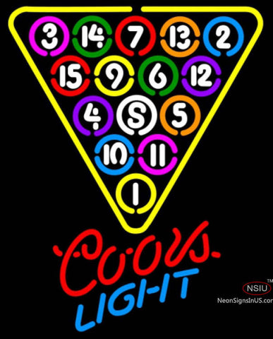 Coors Light Neon Ball Billiards Pool Neon Beer Sign