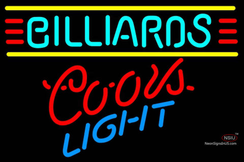Coors Light Neon Billiards Text Borders Pool Neon Beer Sign