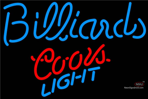 Coors Light Neon Billiards Text Pool Neon Beer Sign  7