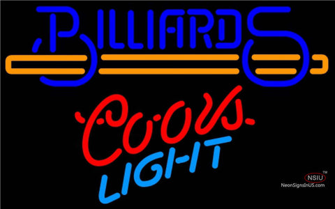 Coors Light Neon Billiards Text With Stick Pool Neon Beer Sign