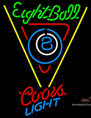 Coors Light Neon Eight Ball Billiards Pool Neon Beer Sign