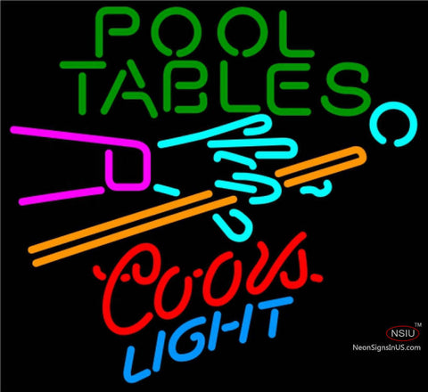Coors Light Neon Pool Tables Billiards Neon Beer Sign