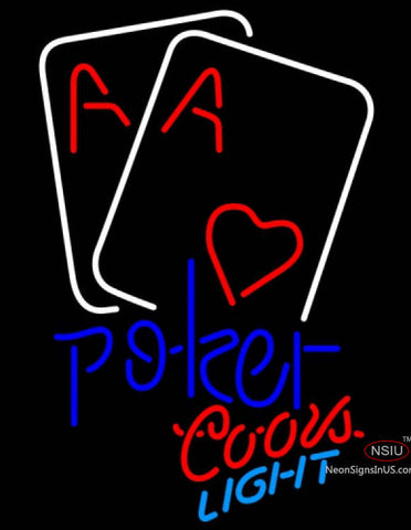 Coors Light Neon Heart Poker Cards Neon Sign