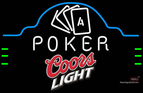Coors Light Poker Ace Cards Neon Sign