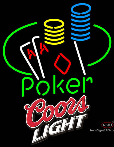 Coors Light Poker Ace Coin Table Neon Sign