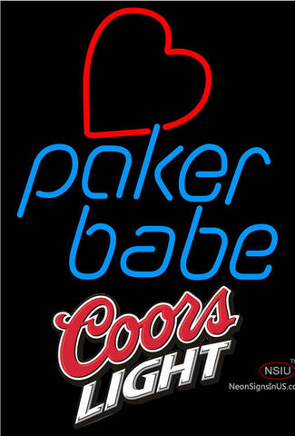 Coors Light Poker Girl Heart Babe Neon Sign
