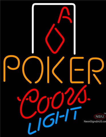 Coors Light Poker Squver Ace Neon Sign