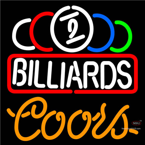Coors Neon Ball Billiard Text Pool Neon Beer Sign   x