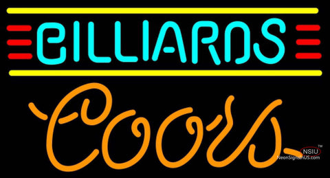 Coors Neon Billiards Text Borders Pool Neon Beer Sign