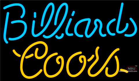 Coors Neon Billiards Text Pool Neon Beer Sign