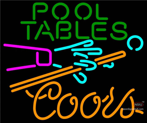 Coors Neon Pool Tables Billiards Neon Beer Sign