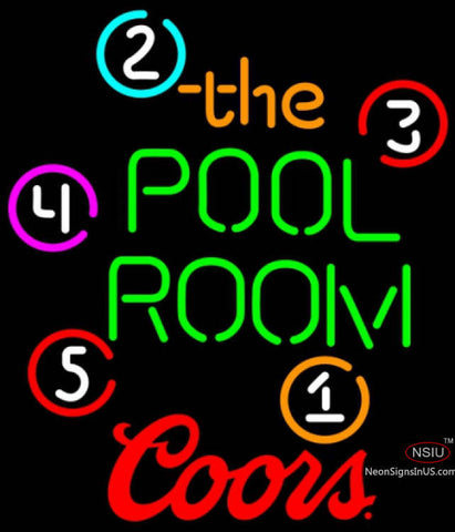 Coors Pool Room Billiards Neon Beer Sign