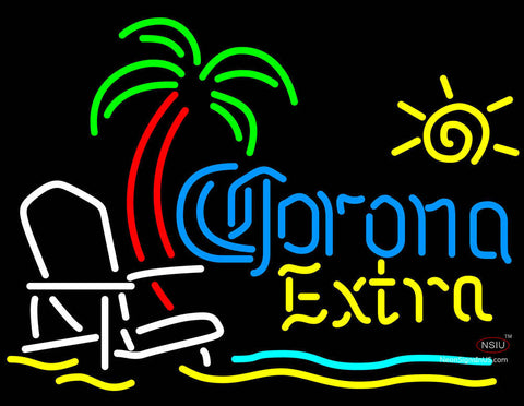 Corona Beach Extra Chair And Palm Tree Neon Beer Signs